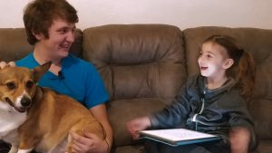 Ava Jane Chats with Her Brother Ian and the Corgi